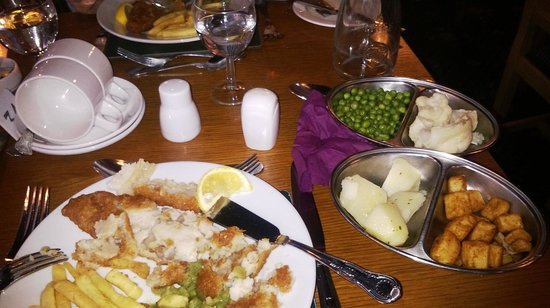 Bay Caledonian Hotel : Its chefs special fish and chips with cauli & roast spuds