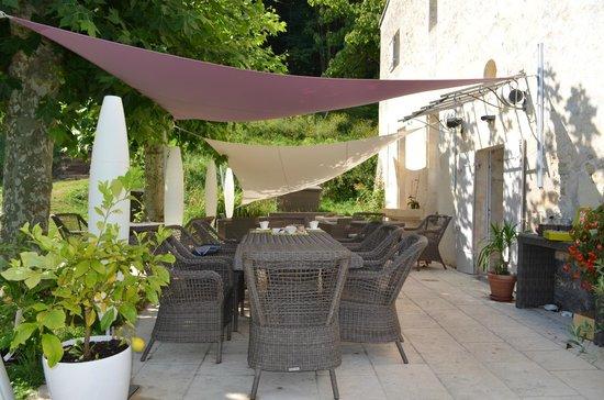 Chateau de Courtebotte: La terrasse où nous prenions le petit déjeuner