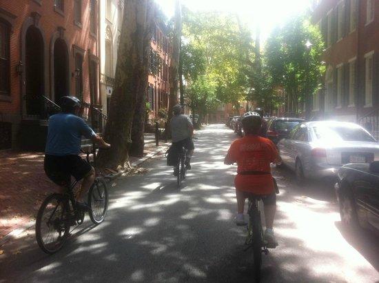 Philly Bike Tour Company: Scott, leading a tour down Delancy Street