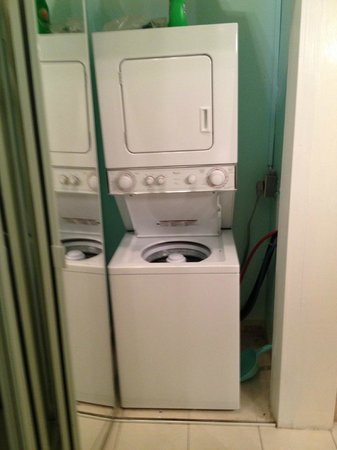 London House Condominiums: washer/dryer- could heat up area since it vented into the room