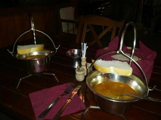 Haller Camping: goulash soup served the traditional way in a steel cauldron