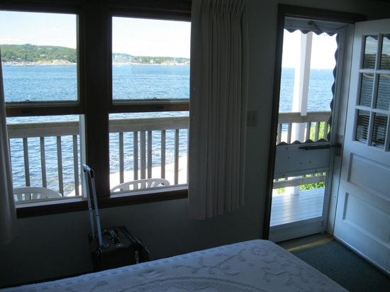 "Bearskin Neck Motor Lodge: View from inside our ""small"" room; and what a view it is."