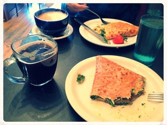 Amazing Crepes: spinach, pesto, and brie.