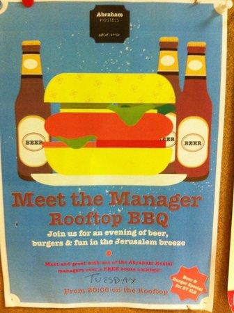 Abraham Hostel Jerusalem : BBQ night poster