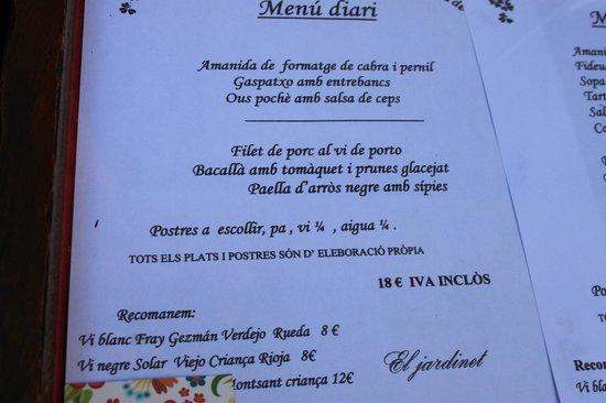 El Jardinet: 1er menu