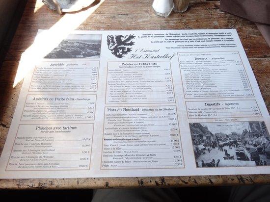 Estaminet'T Kasteel Hof : le menu