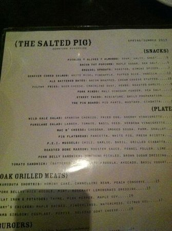 The Salted Pig : Snap Shot of the menu