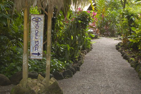 Ojo del Mar: Ojo sign at parking area pointing down path toward main lodge and cabinas
