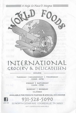 World Foods International Grocery and Delicatessen: Menu Front