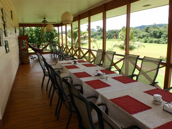 Kabalebo Nature Resort: Main Lodge verandah for set for meals