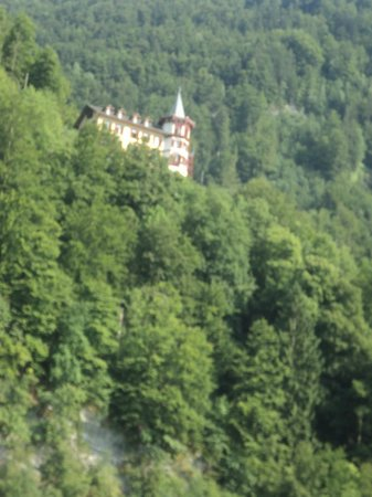 Grandhotel Giessbach: View of the Hotel taken from a boat on Lake Brienz