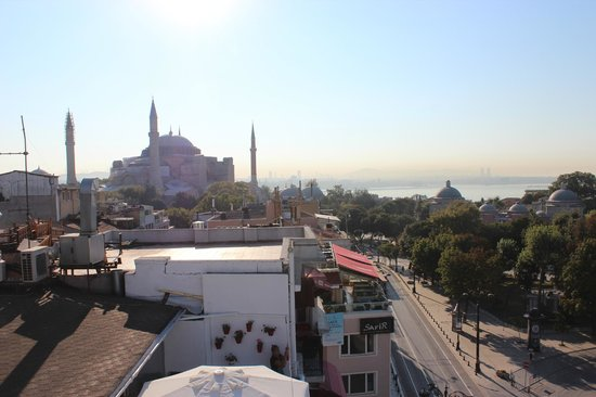Ambassador Hotel: View from the rooftop where the breakfast were served: Hagya Sophia and Bosforous Strait