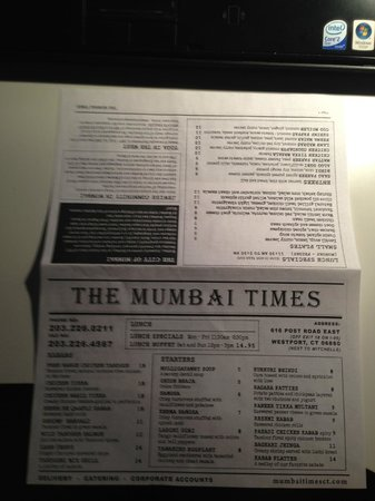 The Mumbai times Indian cuisine: Menu Page 1 and 2
