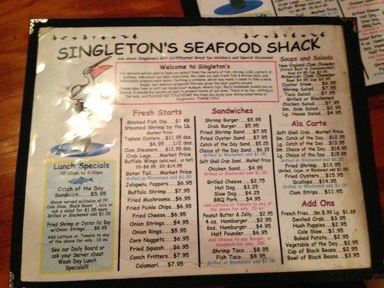 Singleton's Seafood Shack: Menu Front