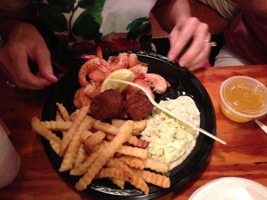 Singleton's Seafood Shack: steamed shrimp, fries, and slaw