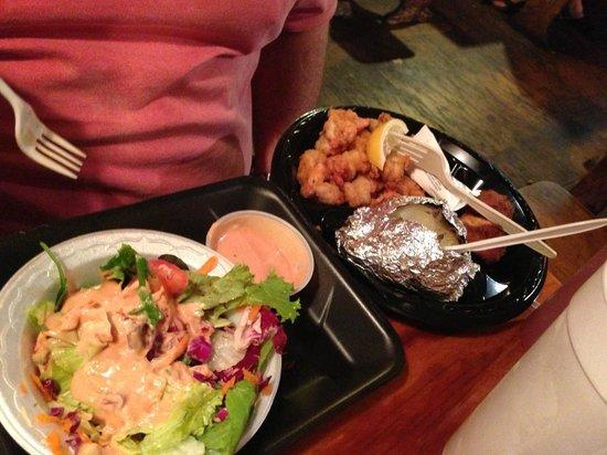 Singleton's Seafood Shack: fried shrimp, potato, and salad
