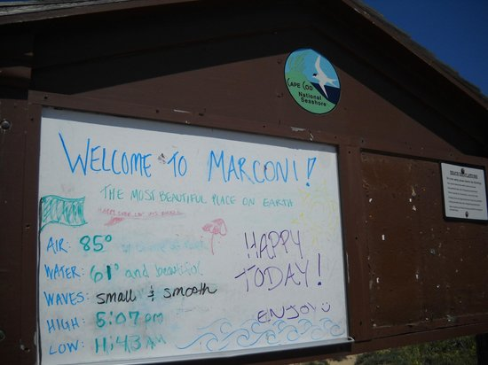 Welcome board at Marconi Beach - cute!