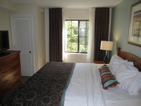 Staybridge Suites Atlanta - Perimeter Center East: 2BDRM- Larger bedroom in suitem nice view of trees facing pool area
