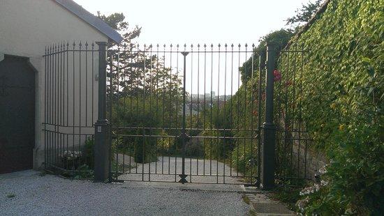 Hôtel Le Sauvage : Parkplatz im Garten