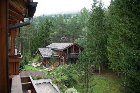 Hotel Chalet Corso: Vista dal balcone della camera (bosco, centro benessere e prati)