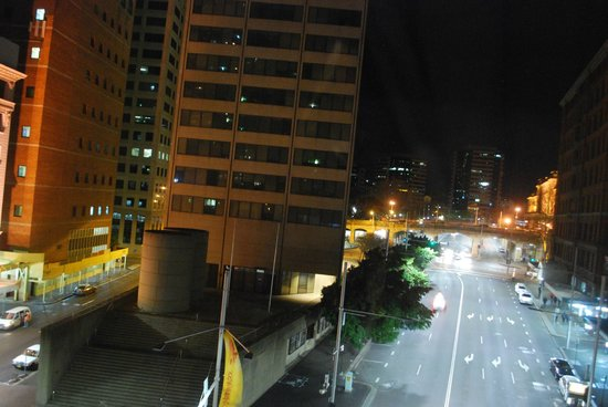 The Great Southern Hotel: George Street view by night Central Station on far right at overpass
