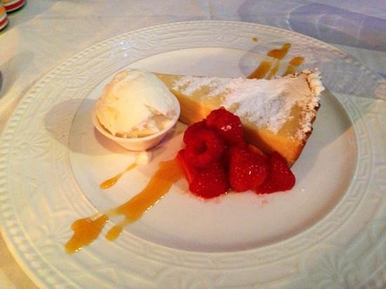 Jumble Room: homemade lemon tart with berries and ice cream.