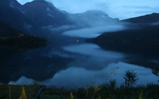 Eresfjord, Норвегия: Late evening view from the cabins