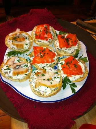 The Ira Allen House Bed and Breakfast: Smoked fish toasts with herb cream cheese