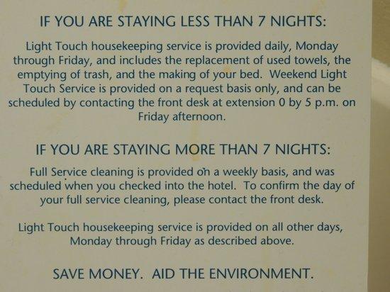 Staybridge Suites Corning: Housekeeping Policy