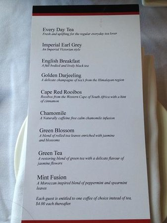 Manor Grill at Rydges Hotel Hobart: Lovely selection if teas