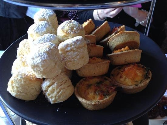 Manor Grill at Rydges Hotel Hobart: second layer, mini scones and quiches