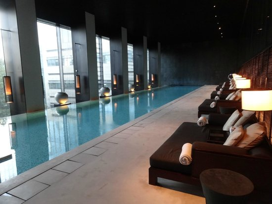 Indoor infinity edge swimming pool is great for laps with - Shanghai infinity pool ...