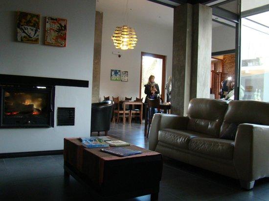 Posada Las Terrazas : Living con hogar, musica y bar