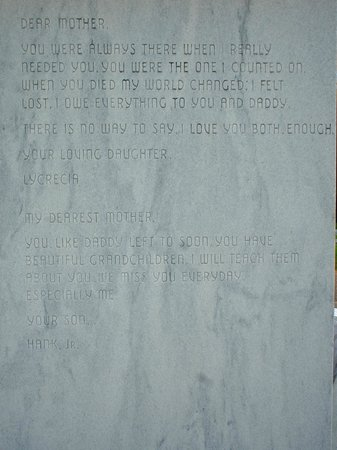 Hank Williams Memorial - Oakwood Annex Cemetery: Hank Jr. and his sister tributes