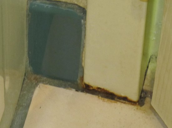 Hampton Inn and Suites Bayside Venice: Rusting door frame in bathroom