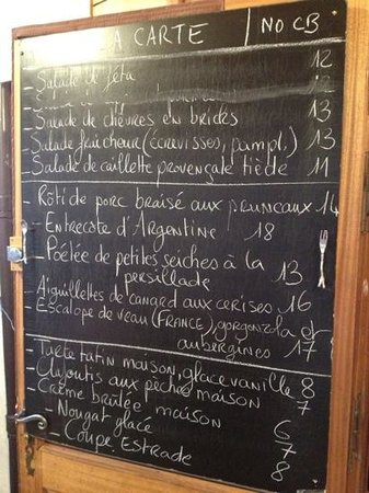 l'Estrade : an example of the regularly changing menu