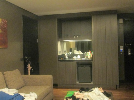 F1 Hotel Manila: The door on the right is the entrance. The door in the left is locked and connects to other room