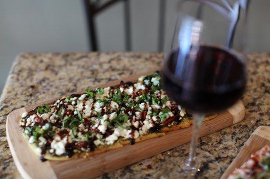Wine A Bit Coronado: Delicious Flatbread Pizzas including Margherita, Mediterranean, Goat Cheese and Pesto