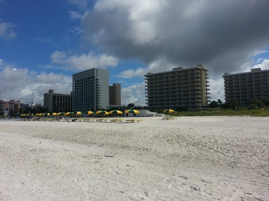 The Charter Club of Marco Beach : view of N/S bldngs from beach