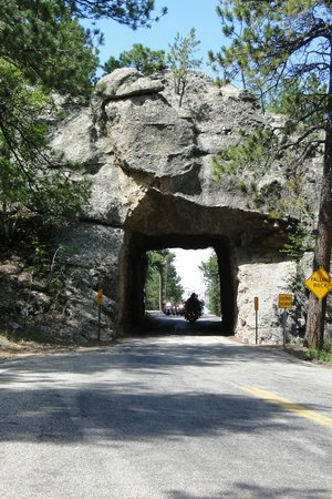 Iron Mountain Road: Tunnel through rock from back up the road.