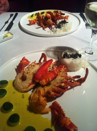 De Stove : Baby lobster with basmati rice and a mild curry sauce