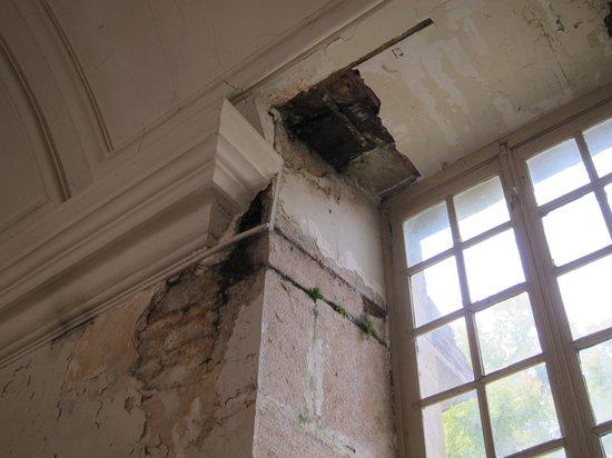 Château de Savigny-lès-Beaune : Plafond pourri par l'humidité.