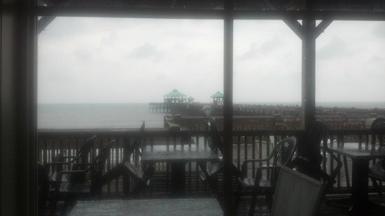 Locklears: Folly Beach Pier and Beach from Our Table at Locklear's