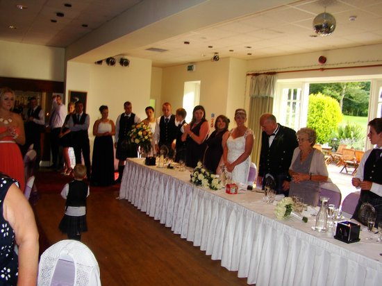 Marshall Meadows Country House Hotel: The wonderful function suite with top table and speeches in progress