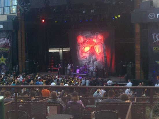Fiddler's Green Amphitheatre: One of the acts, Coheed & Cambria, taken from the front of section 201
