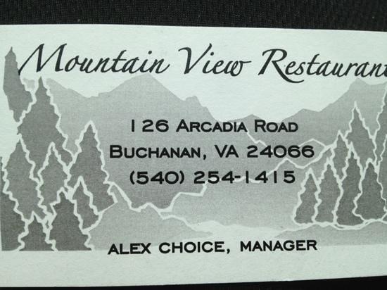 Mountain View Restaurant: Business Card