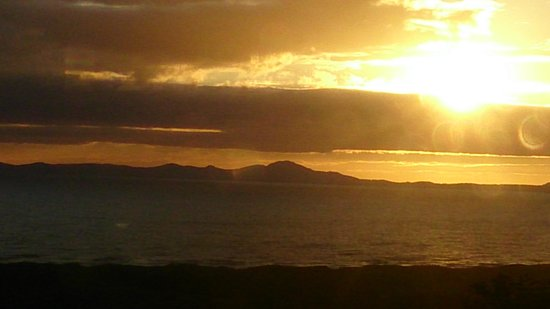 Gwrach Ynys: sunset from our dining table in Harlech