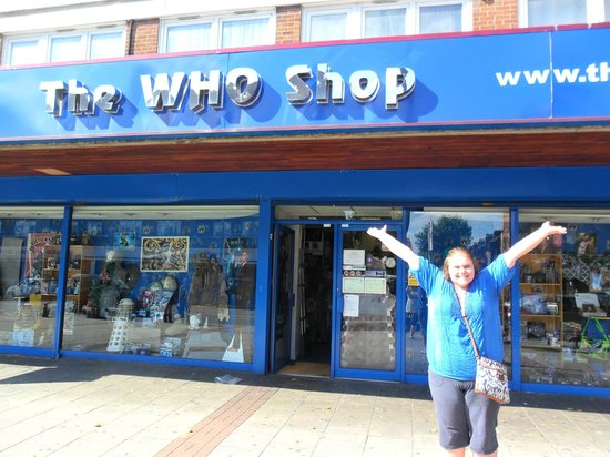 The Who Shop: Myself in front of the shop!