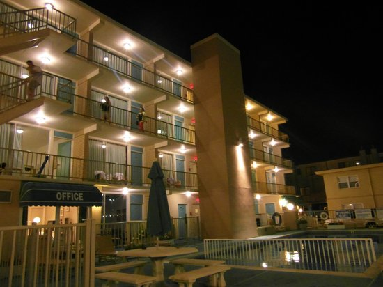 Aquarius Motor Inn: Aquarius at night