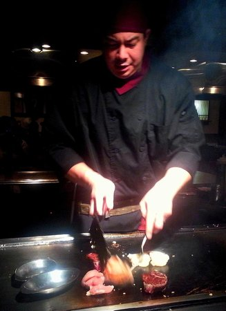 Kabuki Japanese Steak House: Lobster, chicken, and filet mignon on the grill.